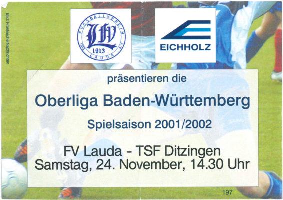 Eintrittskarte 2001-11-24 FV Lauda - TSF Ditzingen