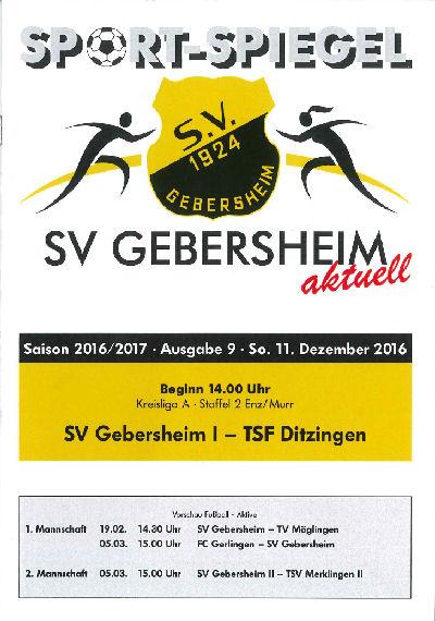 Titelseite Stadionzeitung SV Gebersheim 2016.12.11SV Gebersheim - TSF Ditzingen