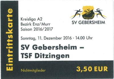 Eintrittskarte 2016-12-11 TSF Ditzingen - SV Gebersheim